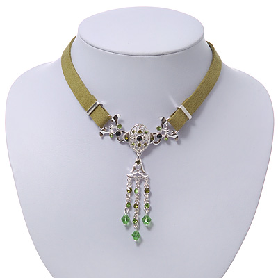Victorian Olive Green Suede Style Diamante Choker Necklace In Silver Tone Metal - 34cm Length with 7cm extension