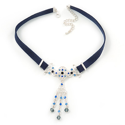 Victorian Dark Blue Suede Style Diamante Choker Necklace In Silver Tone Metal - 34cm Length with 7cm extension