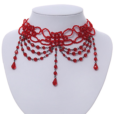 Chic Victorian/ Gothic/ Burlesque Red Bead Choker Necklace