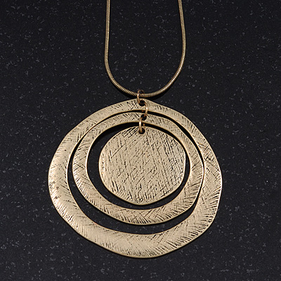 Long Ethnic Textured Medallion Pendant Necklace In Bronze Finish - 80cm Length/ 8cm Extension