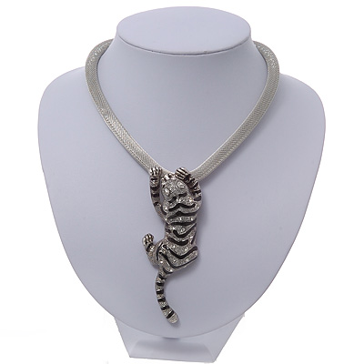 Silver Crystal Enamel &#039;Tiger&#039; Mesh Magnetic Choker Necklace