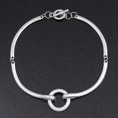 Brushed Silver 'Circle' Choker Necklace With T-Bar Closure - 33cm Length