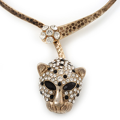 Unique Swarovski Crystal 'Leopard' Collar Necklace In Burn Gold Plating - 39cm Length