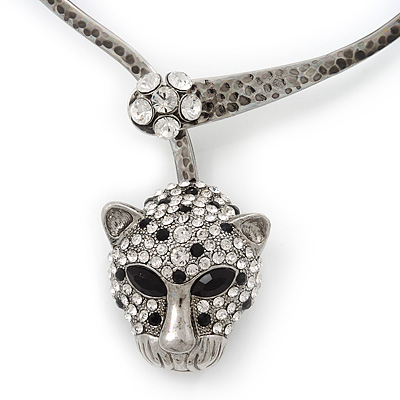 Unique Swarovski Crystal 'Leopard' Collar Necklace In Burn Silver Plating - 39cm Length