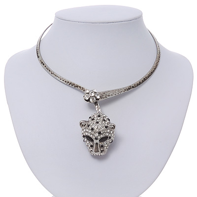 Unique Swarovski Crystal 'Leopard' Collar Necklace In Burn Silver Plating - 39cm Length