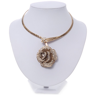 Large Dimensional Swarovski Crystal 'Rose' Pendant Collar Necklace In Burn Gold Finish - 38cm Length