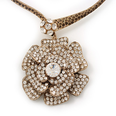 Large Dimensional Swarovski Crystal 'Flower' Pendant Collar Necklace In Burn Gold Finish - 39cm Length