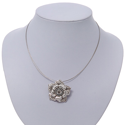 Crystal Layered Textured Rose Pendant Wire Choker Necklace In Silver Plating - 36cm Length/ 7cm Extension