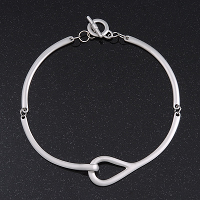 Brushed Silver 'Loop' Choker Necklace With T-Bar Closure - 33cm Length