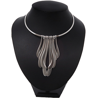 Brushed Silver Long Drops On The Bar Choker Necklace - 38cm Length/ 10cm Front Drop