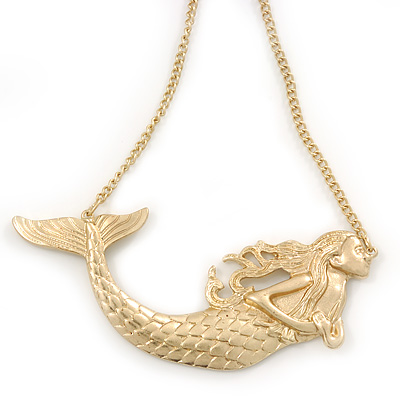 Gold Plated Textured 'Mermaid' Pendant Necklace - 36cm Length/ 8cm Extension
