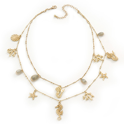 Two Row Gold Plated Sea Charm Necklace - 44cm Length/ 9cm Extension