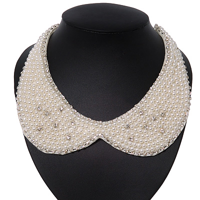 White Pearl Clear Crystal Felt Peter Pan Collar Necklace In Silver Plating - 28cm Length/ 7cm Extension