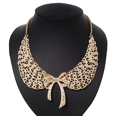 &#039;Angel Wings&#039; Peter Pan Collar Necklace In Gold Plating - 38cm Length/ 6cm Extension