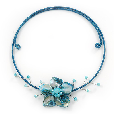 Light Blue Shell Flower Flex Wire Choker Necklace - Adjustable