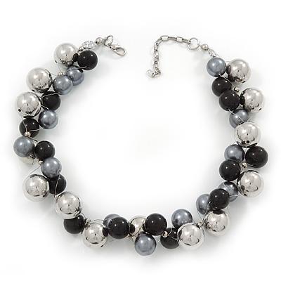 Black/Metallic/Grey Bead Cluster Choker Necklace - 38cm Length/ 5cm Extension