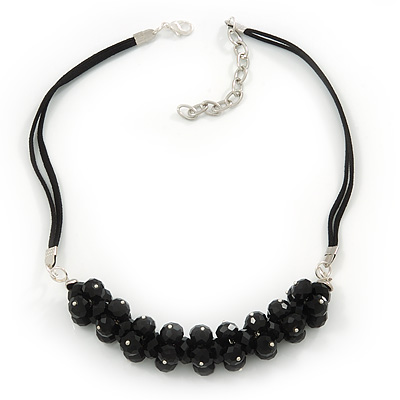 Black Cluster Glass Bead Suede Necklace In Silver Plating - 40cm Length/ 7cm Extender