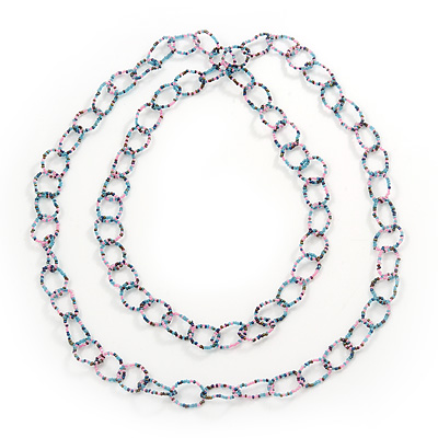 Long Pink/Light Blue/Purple Glass Bead Link Necklace - 150cm Length