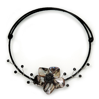 Black/Grey Shell Flower Flex Wire Choker Necklace - Adjustable