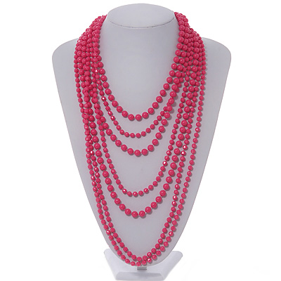 Long Layered Fuchsia Acrylic Bead Necklace In Silver Plating - 112cm Length/ 5cm Extension