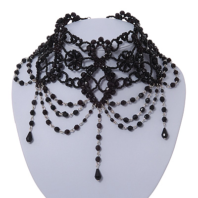 Stunning Jet Black Acrylic Bead Choker In Silver Tone Metal - 27cm Length/ 7cm Extension