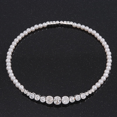 Clear Swarovski Crystal Faux Pearl Flex Choker Necklace In Rhodium Plating - Adjustable