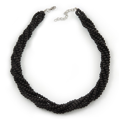 Black Glass Bead Multistrand Twisted Choker Necklace In Silver Plated Finish - 36cm Length/ 5cm Extension