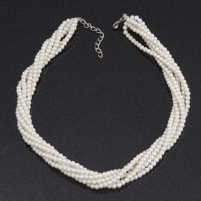 White Glass Bead Multistrand Twisted Choker Necklace In Silver Plated Finish - 36cm Length/ 5cm Extension