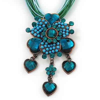 Teal Green Diamante Vintage Flower Pendant On Cotton Cords Necklace In Bronze Metal - 38cm Length/ 7cm Extension