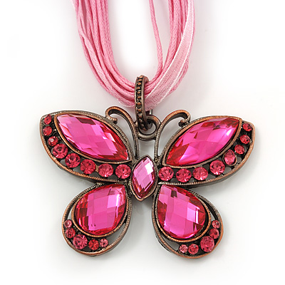 Baby Pink/ Deep Pink Diamante 'Butterfly' Cotton Cord Pendant Necklace In Bronze Metal - 38cm Length/ 8cm Extension