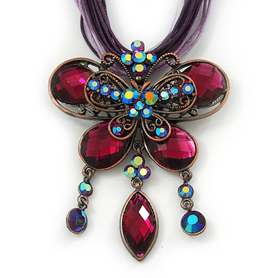 Violet/Deep Purple Diamante 'Butterfly With Tail' Cotton Cord Pendant Necklace In Bronze Metal - 38cm Length/ 8cm Extension