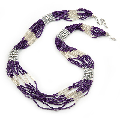 Avalaya Purple Shell & Wood Bead Long Necklace - 90cm Length O2NSXBIg