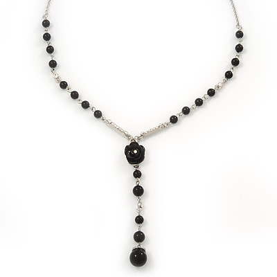 Y-Shape Black Resin Rose Bead Necklace In Rhodium Plating - 46cm Length/ 6cm Extension