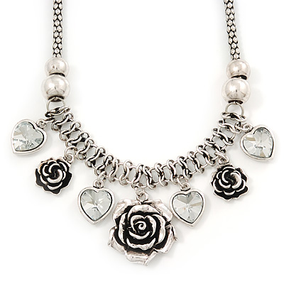 Vintage 'Rose&Heart' Mesh Charm Necklace In Burn Silver Metal - 40cm Length/ 6cm Extension