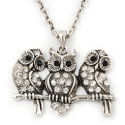 'Three Wise Owls' Long Diamante Pendant Necklace In Burn Silver Metal - 62cm Length/ 5cm Extension
