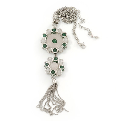 Green Jade/ Rose Quartz Stone 'Chain Tassel' Pendant Necklace In Rhodium Plating - 44cm Length/ 6cm Extension