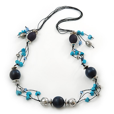 Long Turquoise Stone and Dark Blue Wooden Bead Necklace on Cotton Cord - Expandable 112cm - 147cm Length