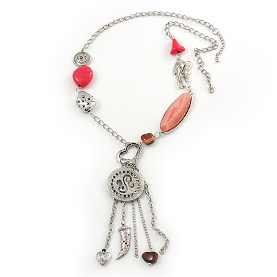 Long Hot Pink Stone and Silver Charm Tassel Necklace In Silver Tone - 75cm Length (5cm extension)