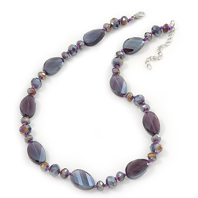 Glittering Purple Glass Bead Necklace In Silver Plating - 42cm Length/ 6cm Extension