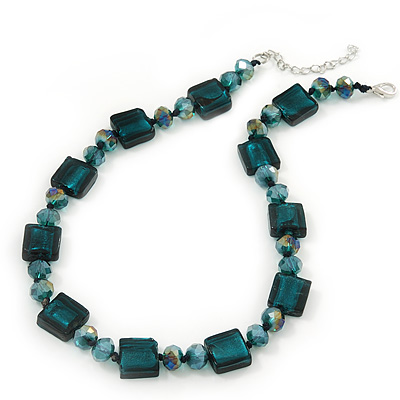 Teal Green Glass Bead Necklace In Silver Plating - 42cm Length/ 6cm Extension