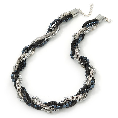Black/Silver Mesh Chain Black/Grey Crystal Bead Choker Necklace - 36cm Length/ 4cm Extension