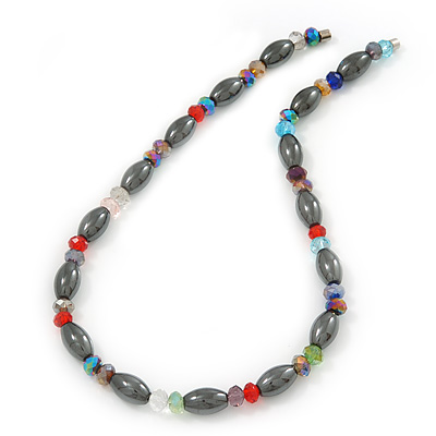 Stylish Oval Hematite/ Multicoloured Crystal Bead Magnetic Necklace - 40cm Length