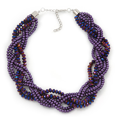 Luxurious Braided Purple Bead Choker Necklace In Silver Plating - 36cm Length/5cm Extension - main view