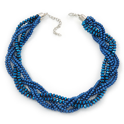 Luxurious Braided Blue Bead Choker Necklace In Silver Plating - 36cm Length/5cm Extension