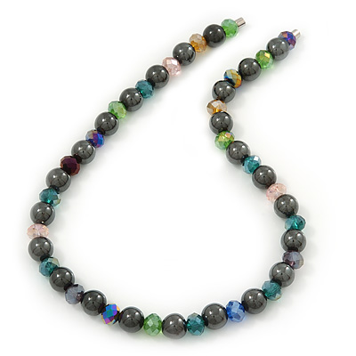 Stylish Round Hematite/ Multicoloured Crystal Bead Magnetic Necklace - 40cm Length