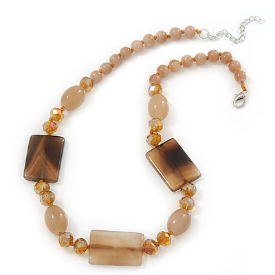 Beige Ceramic & Ligth Amber Crystal Bead Necklace In Rhodium Plating - 42cm Length/ 5cm Extension