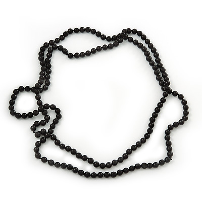 Long Black Glass Bead Necklace - 140cm Length/ 8mm