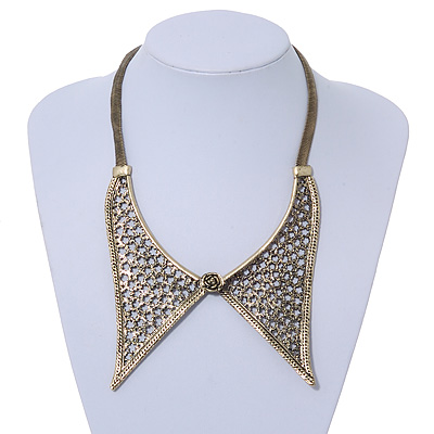 Antique Gold Effect Tailored Collar Necklace on Flat Snake Chain - 42cm Length/5cm Extension