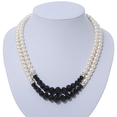 Two Row White Glass Pearl & Black Crystal Beads Necklace - 46cmc Length /6cm Extension