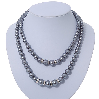 Two Row Grey Simulated Glass Pearl Bead Layered Necklace In Silver Plating - 46cm Length/ 6cm Extension
